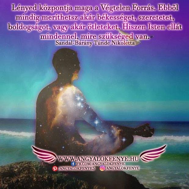 Angyali üzenet-Lényed központja maga a Végtelen Forrás